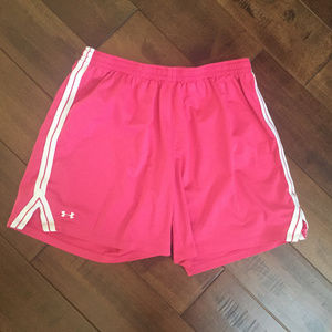 Under Armour Pink with White Stipes Shorts Sz M